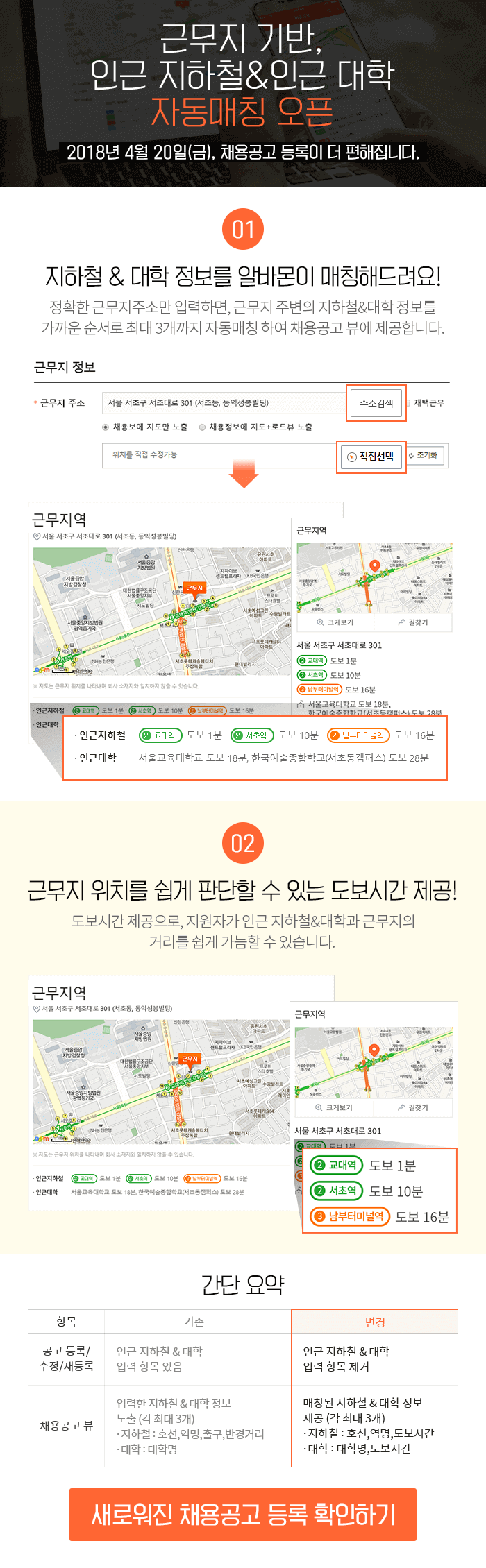 근무지 기반, 인근 지하철&대학 자동매칭 오픈