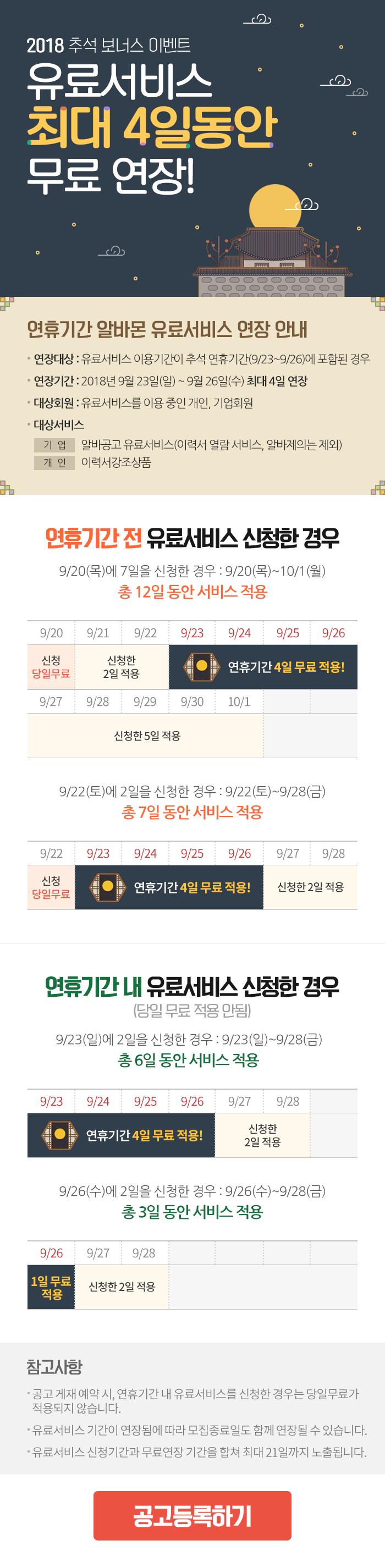추석 연휴 유료상품 최대 4일 무료연장