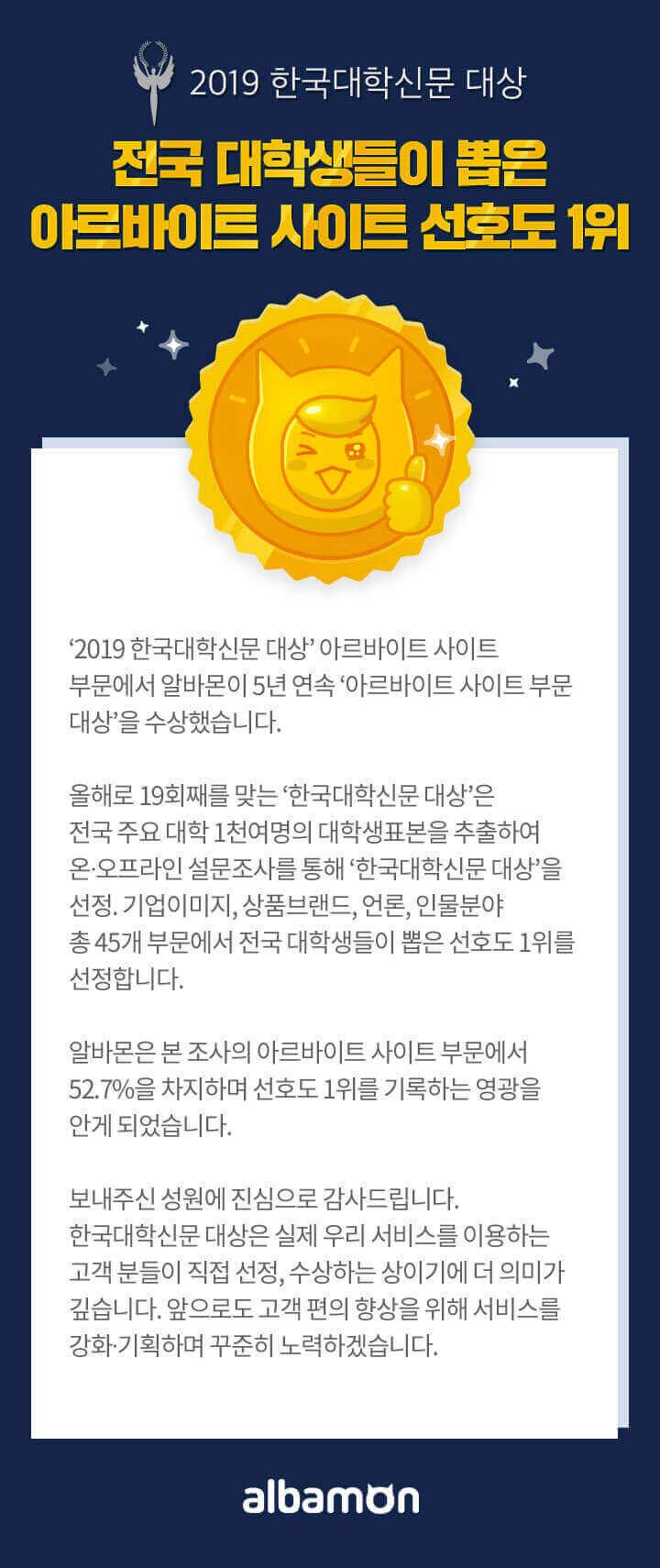 2019 한국대학신문대상 5년 연속 대상 수상